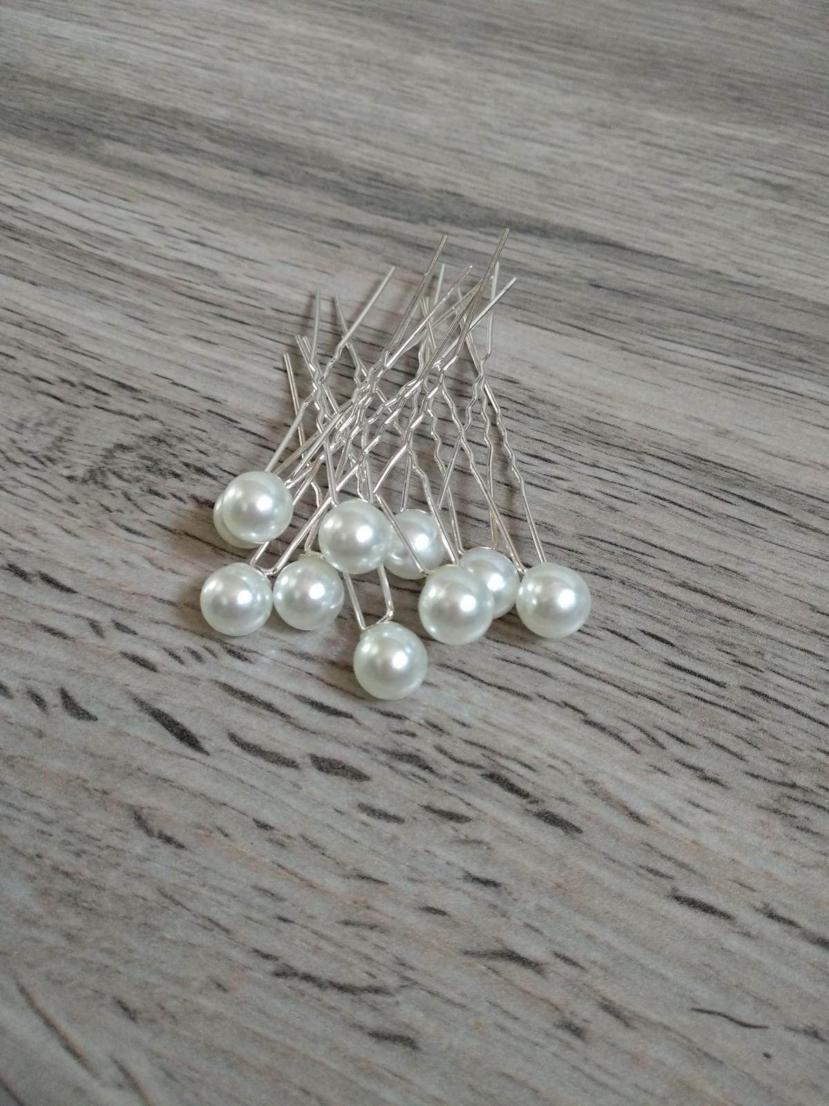 Bílé perly do vlasů, 10 ks - Obrázek č. 1