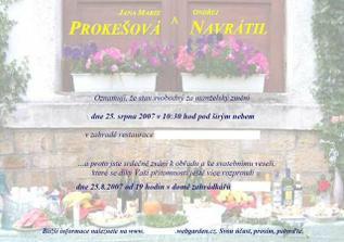 Oznameni svatby a pozvanka na garden-party posílaná po netu