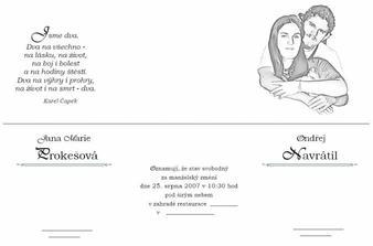 Přední a zadní strana svatebního oznámení...samovýroba - a vleze se presne do pap. obalu od CDa to kulaté průhledne okno vyjde přímo na tváře