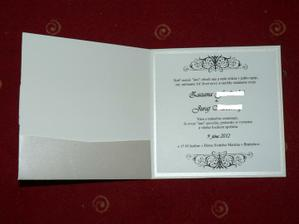 spolu s vnutornym textom, na lavej strane ako je kapsicka bude este karta na pozvanie k svadobnemu stolu