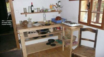 tu sa vari, oproti vchodu do kuchyne je vchod do hostovskej izby- smer sipky