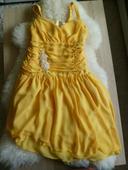 Žluté šifonové šaty vhodné pro družičku, 38