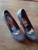 Strieborné topánky s kamienkami, 37