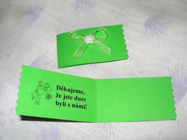 Koupě, výroba - děkovné kartičky - budou s vlastnoručními podpisy na prázdné stránce