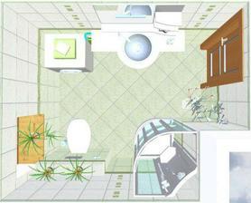 vizualizace: malá koupelka ve 2+1