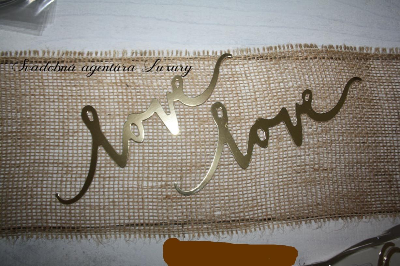 """Papierová dekorácia """"love"""" zlatá/strieborná - Obrázok č. 1"""