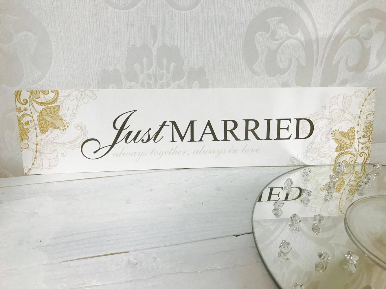 """Svadobná ŠPZ """"Just married"""" -zlatá - Obrázok č. 1"""