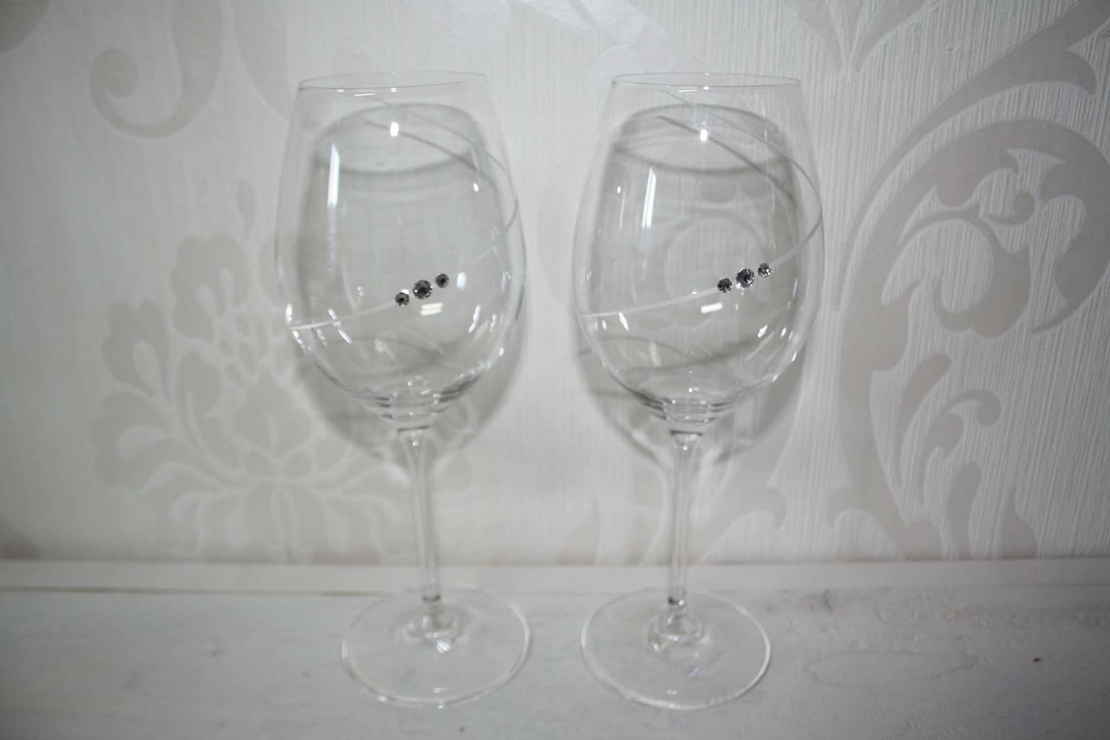 Svadobné poháre so Swarovski kamienkami - Obrázok č. 1