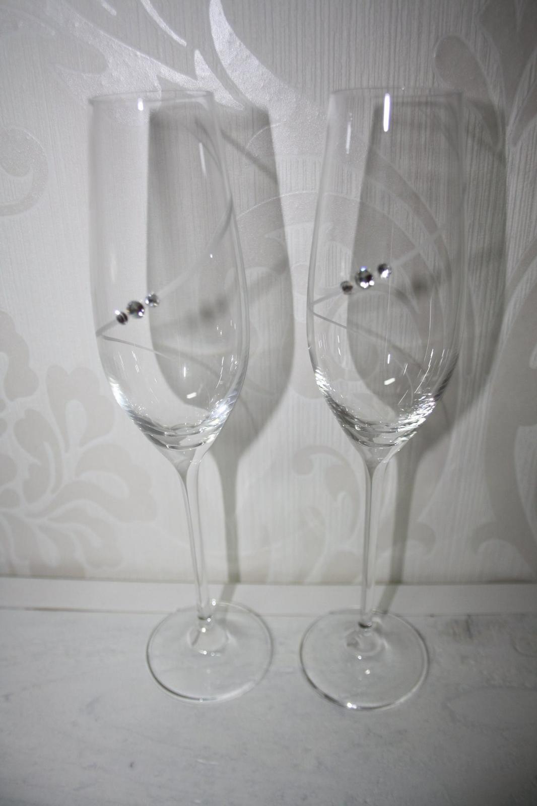 Svadobné poháre na šampanské so Swarovski  - Obrázok č. 1