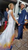 Svatební šaty ombré ručně šité a barvené, 38