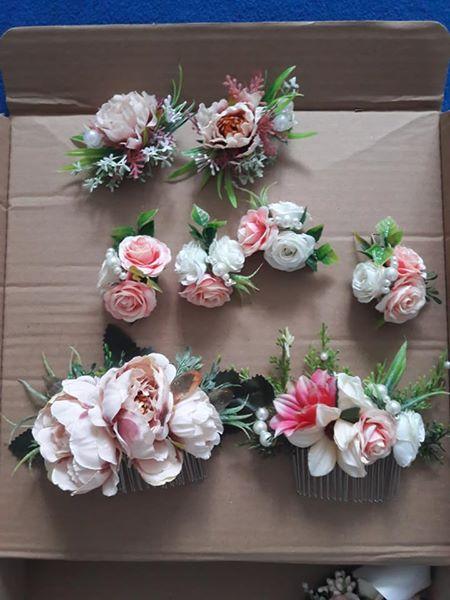 Kvetinový set do vlasov + opasok - Obrázok č. 1