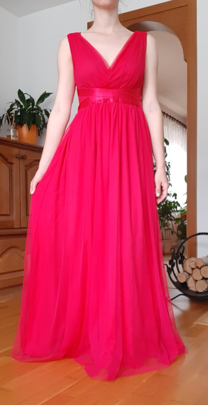 Ružové spoločenské šaty, veľ. 34 - Obrázok č. 1