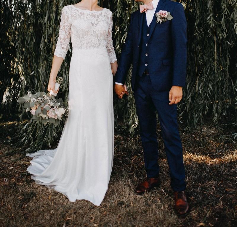 Něžné svatební šaty od návrhářky - Obrázek č. 1