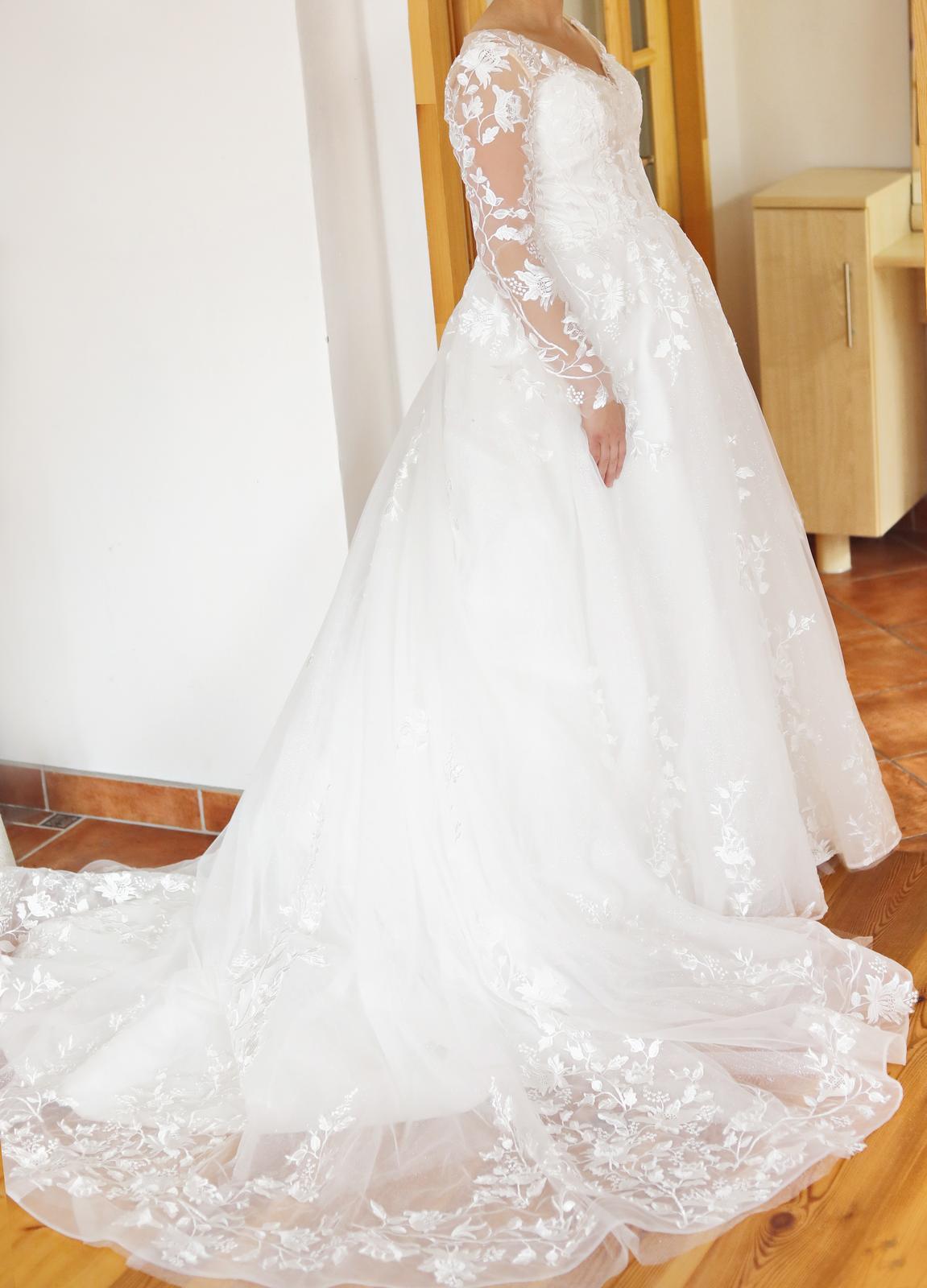 Svatební šaty vel. 38/40, vhodné také těhotné nevěsty - Obrázek č. 1