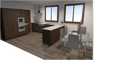 Mezi vestavěnou lednici a troubu bych chtěla ještě potrav. skříň. Doufám že se vleze:) A doufám, že se k této tmavší kuchyni bude hodit předvybraná podlaha, moc se mi líbí:)