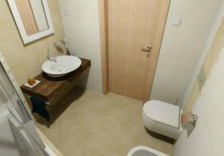 Podobně velkou malou koupelničku se sprchou budeme mít a takové umyvadlo se mi moc líbí:)