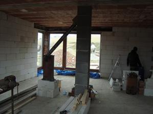 pohled z kuchyně do obývací části