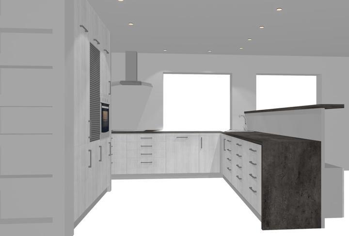 Návrh kuchyně - finále - Vpravo nebudou tři skříňky s šuplíky, ale jen dvě. Třetí, nejblíž oknu, bude skříňka s odpadkovým košem.