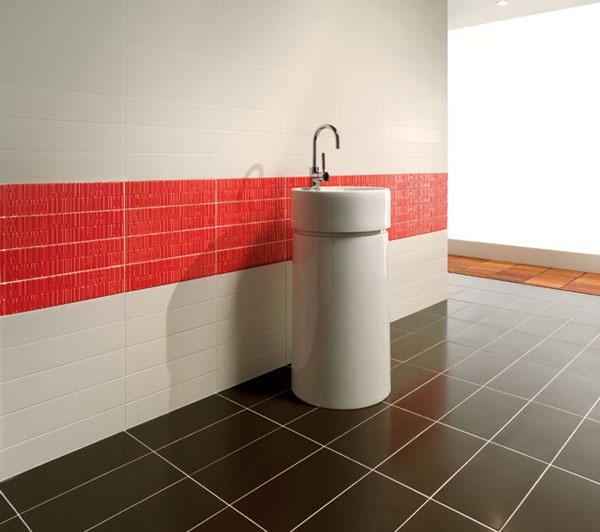 Kúpeľňa - inšpirácie - bielu s troskou cervenej mozem