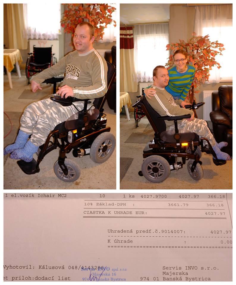 Vazeni priatelia a znami, Z celeho srdca by som chcela vsetkym tym, ktori sa zapojili alebo nejakym sposobom prispeli k sireniu nasej zbierky na LUDIALUDOM.SK podakovat. Po vyse dvoch rokoch sme uspesne dosli do konca a Misko sa dnes vytesuje z krasneho invalidneho vozika ktory bol jeho celozivotnym snom. Osobitnu vdaku si zasluzi slecna Andrea, ktora nam prispela stedrou sumou. Este raz, vsetkym velke DAKUJEME !!! - Obrázok č. 1