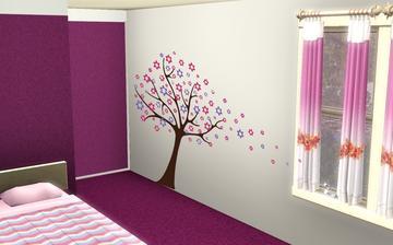 strom bude naproti vchodu do pokoje
