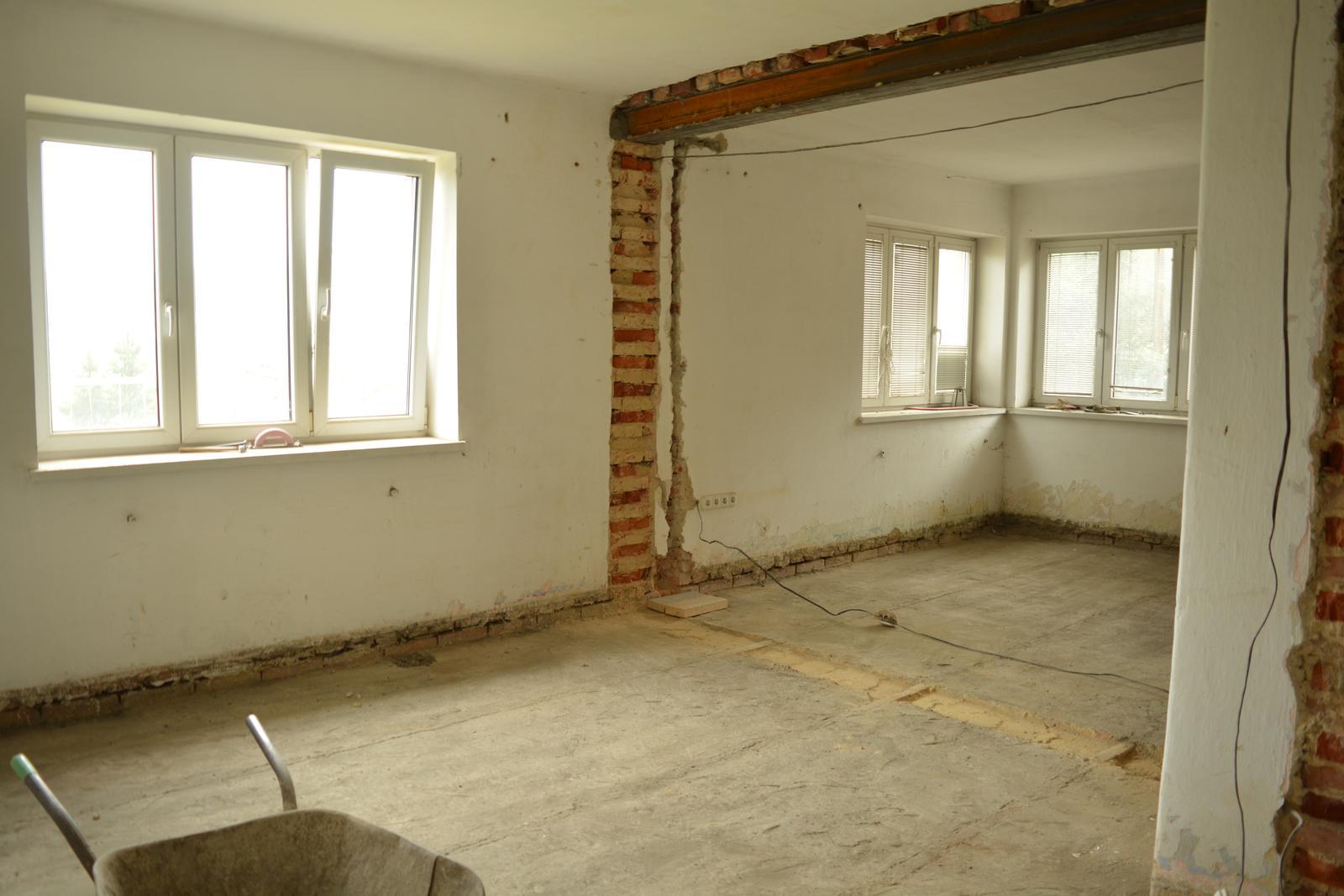 Náš nový domov ... - Naše srdce domova - obývák a jídelna ... místo okna vlevo budou posuvné dveře na terasu