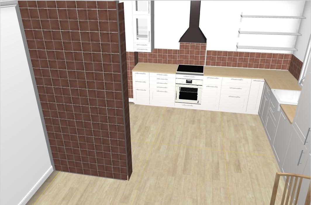 Náš nový domov ... - Obklad pokládejte za imitaci cihly ... chtěla jsem hlavně co nejvíc odpovídající barvu ... ta příčka vlevo je komín, který bude obložený 100% cihlama .. teď je otázka, jestli tak obložit i kuchyň? .. a nebo dát do kuchyně bílý obklad? nebo světlejší?