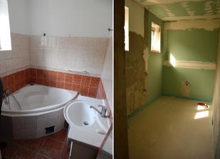 Koupelna prodloužená o spížku, která byla v kuchyni ..