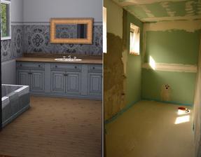 Koupelna .. skřínky v reálu bílé, prostřední pruh v reálu užší s podobným motivem ..