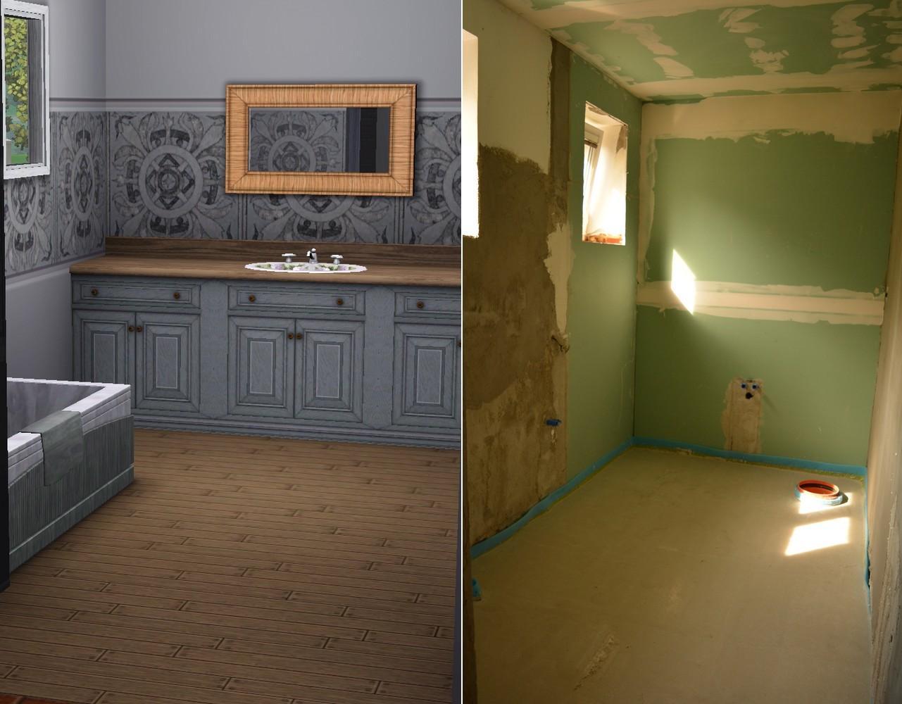 Náš nový domov ... - Koupelna .. skřínky v reálu bílé, prostřední pruh v reálu užší s podobným motivem ..