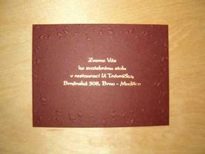 Pozvanka ke svatebnimu stolu....