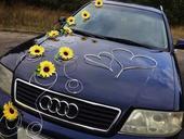 Slunečnicová dekorace na auto-sada,