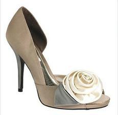 Light brown colour block corsage platform shoes