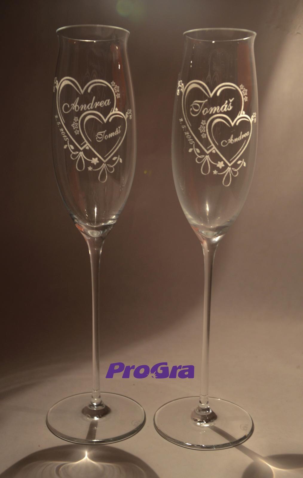 Svatební skleničky - ručně dělané sklo s gravírováním od ProGra - svatební skleničky Jasmine