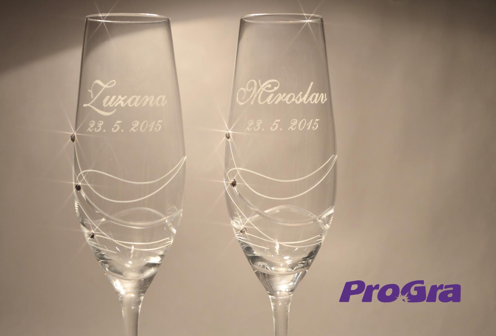 Svatební skleničky - Svatební skleničky Gabrielle - detail gravírování