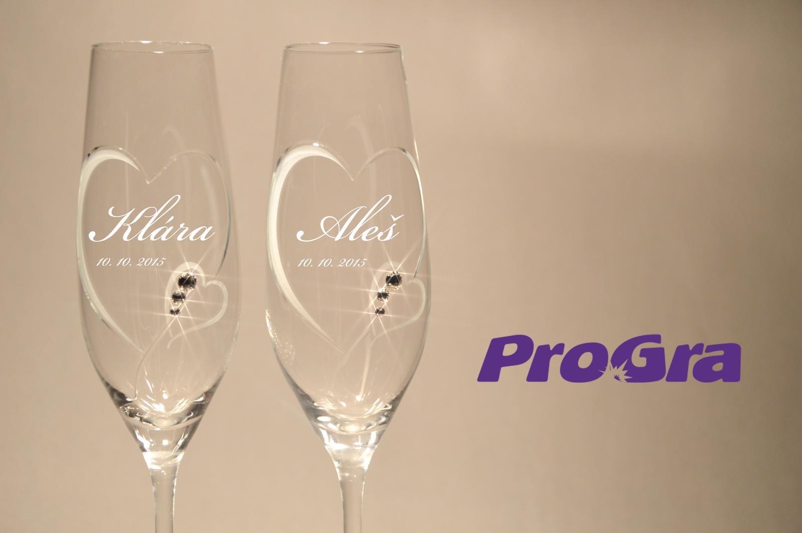Svatební skleničky - Svatební skleničky Clara - NOVINKA v naší nabídce