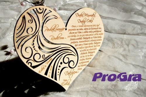 Poděkování rodičům - Poděkování rodičům - velké překližkové - vyřezávané - od nevěsty