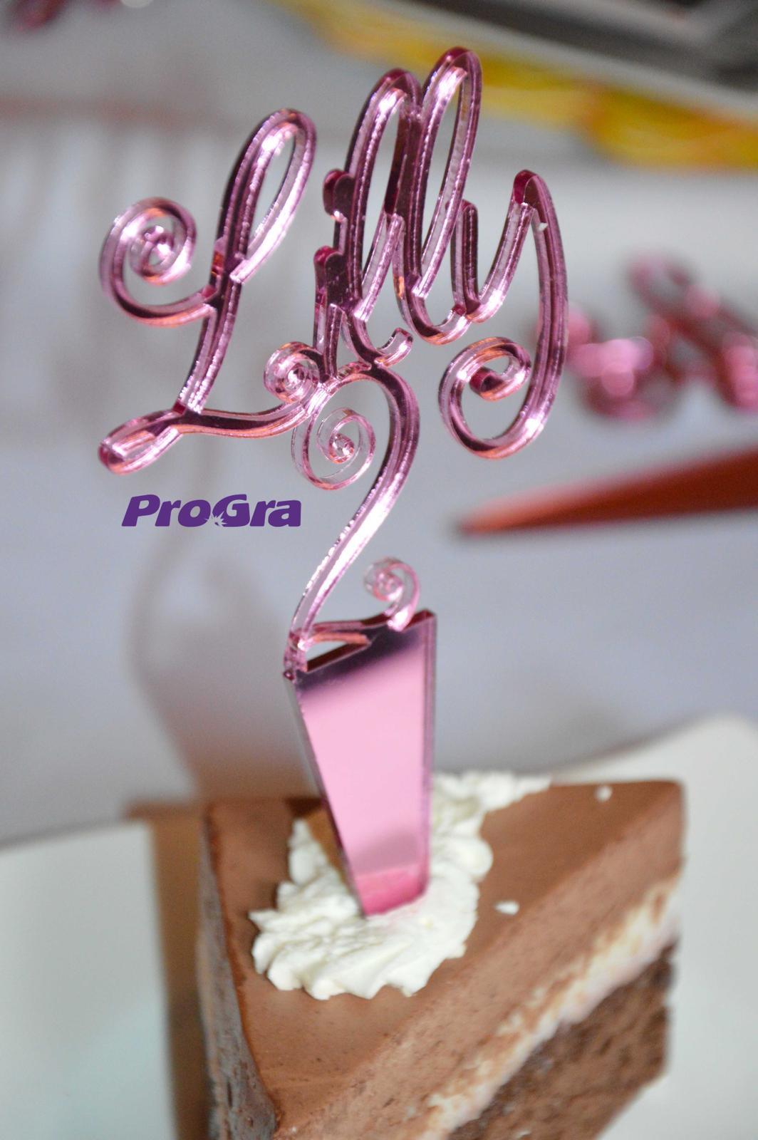 Po svatbě - Zápich na dort zrcadlový - růžový