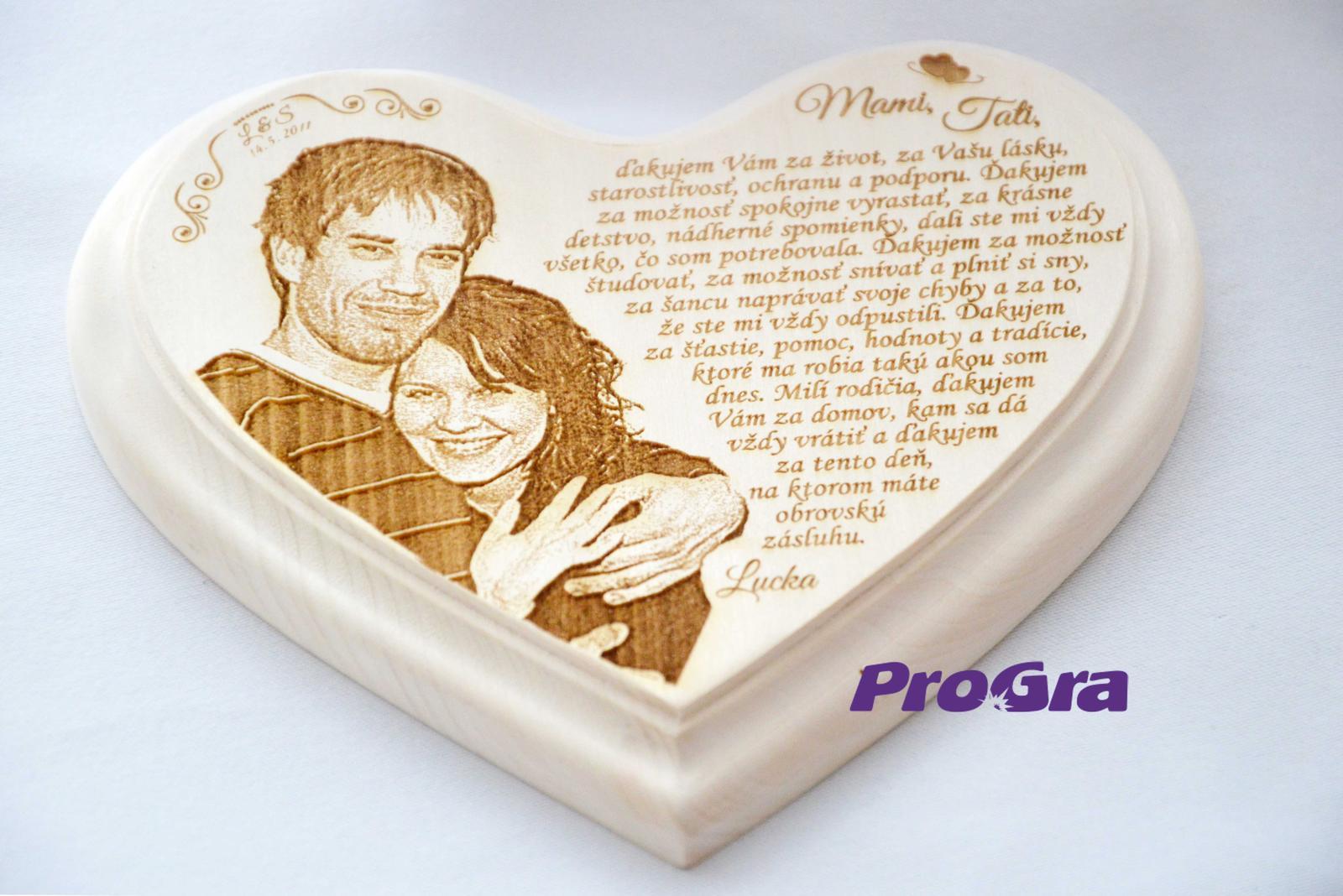 Poděkování rodičům - děkovné srdíčko s fotkou snoubenců od ProGra