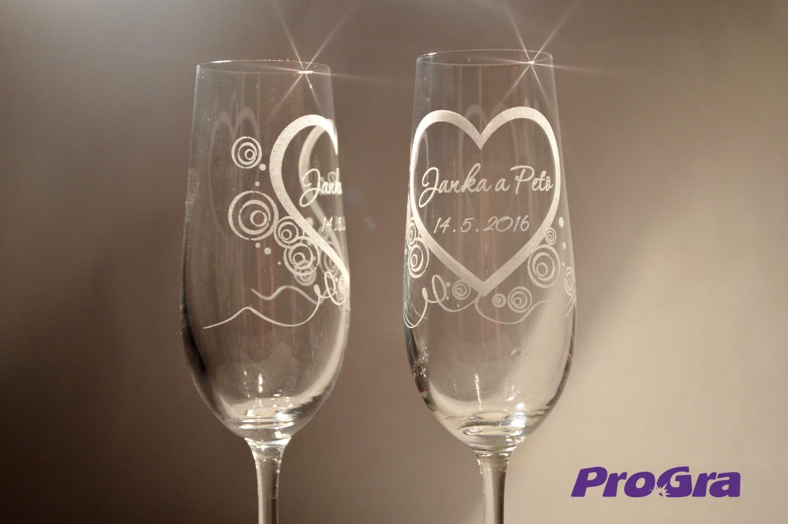 Svatební skleničky - Svadobné poháre Carmelitta gravírované s grafikou 21 z našej ponuky