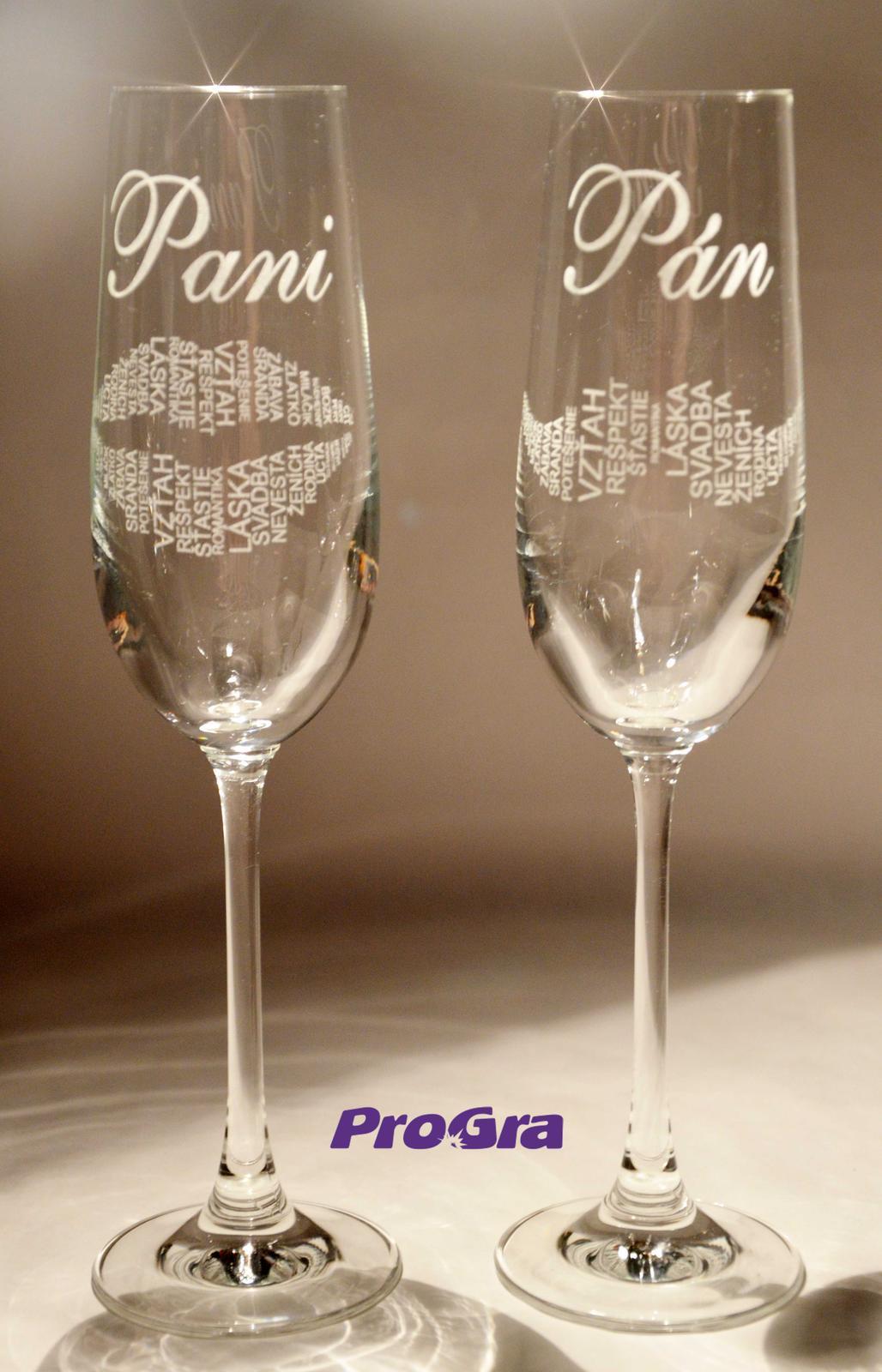 Svatební skleničky - Svatební sklenice Carmelitta s grafikou 26 z naší nabídky