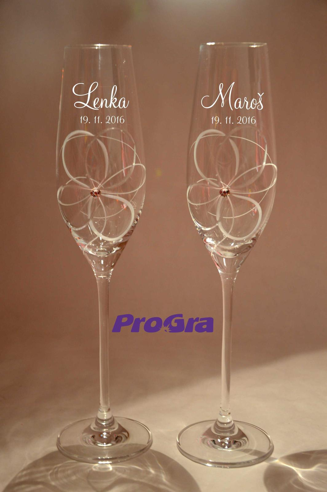 Svatební skleničky - Daisy - krásné broušené svatební sklenice s krystalkům Swarovski a gravírováním z naší nabídky