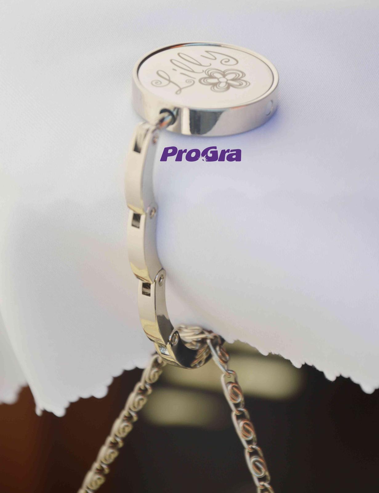 Originální Svatební Doplňky - Držák na kabelku s krásným gravírováním - dle Vašich přání.