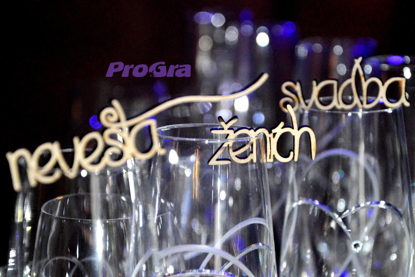 Svatební skleničky - Nápisky - MINI - sada 3ks (ženich, nevěsta, svatba)