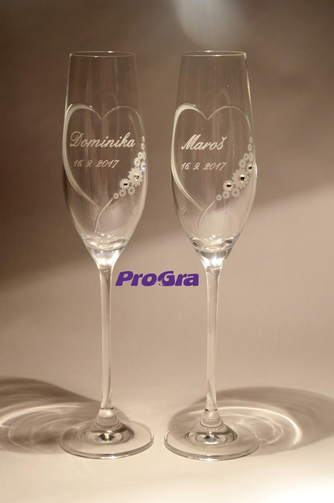 Svatební skleničky - Chloe - krásné svatební sklenice s krystalky Swarovski - novinka v naší nabídce