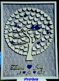 Svatební strom v modré barvě vytvořený podle požadavků svatebního páru