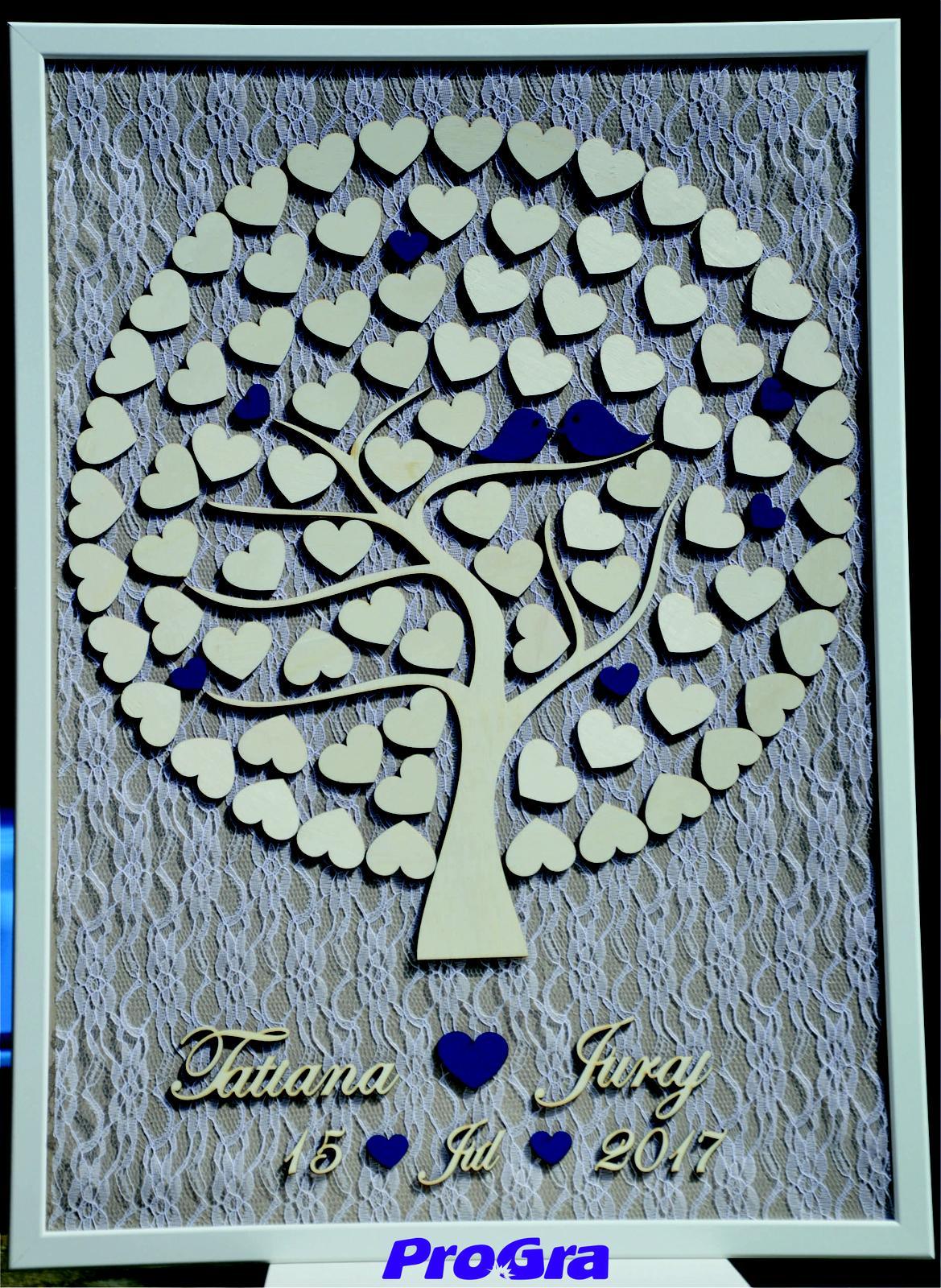 Originální Svatební Doplňky - Svatební strom v modré barvě vytvořený podle požadavků svatebního páru