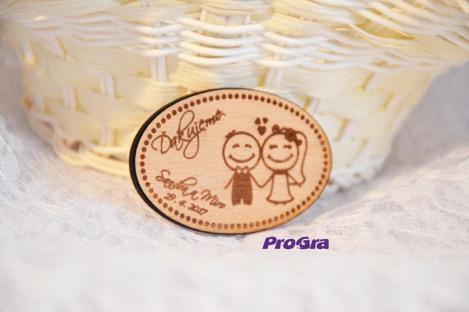 Originální Svatební Doplňky - Svatební magnet - oválný