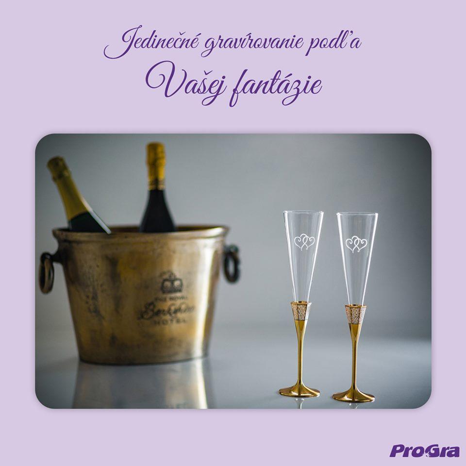 Svatební skleničky - Gravírujeme poháre z našej štandardnej ponuky, ako aj Vami prinesené poháre