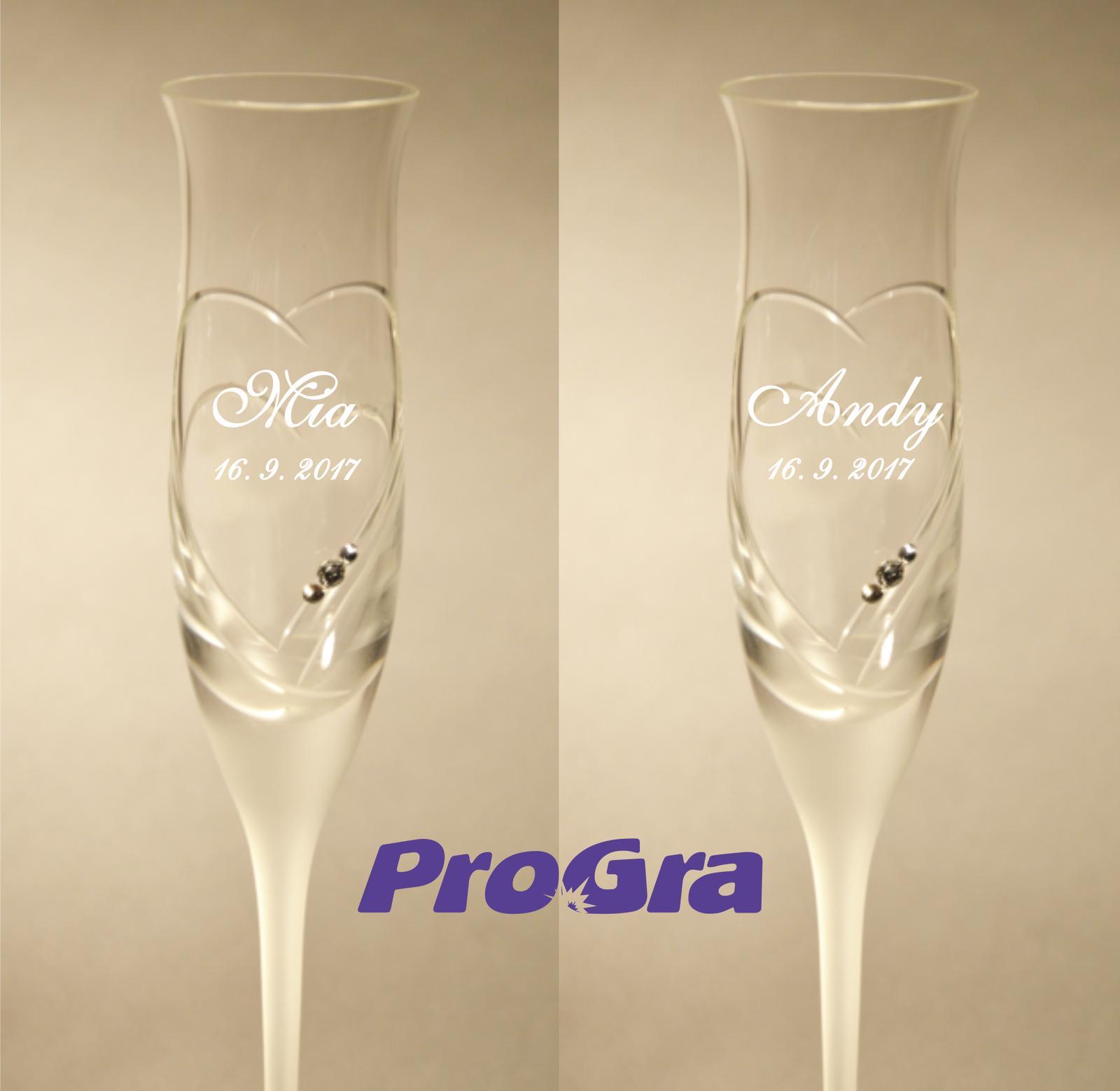 Mia - svatební sklenice - 2ks - Obrázek č. 1